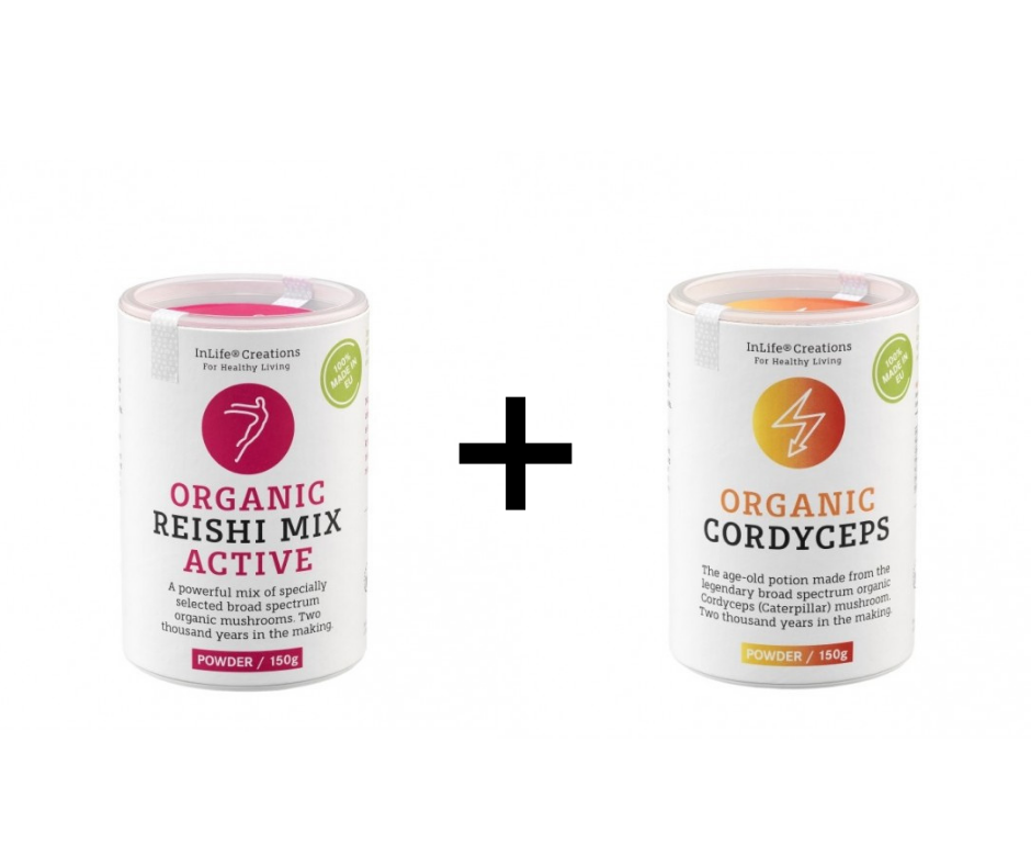 SUPER AKTIVNI PAKET: Bio Reishi Mix ACTIVE (PRAH, 150g) & Bio CORDYCEPS (PRAH, 150g)